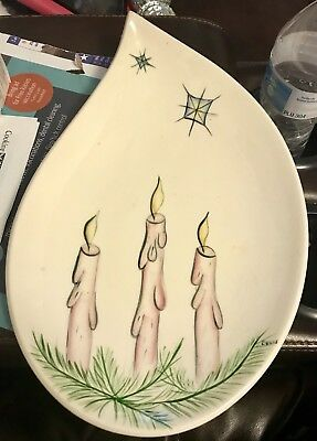Rare! Vtg Teardrop Thick Platter Signed Evans Hand Painted Great Condition L@@k!