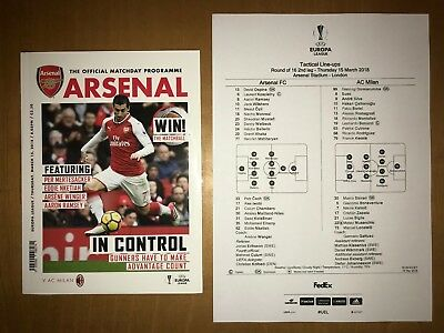Arsenal v AC Milan UEFA Europa League Programme And Team Sheet 15th March 2018