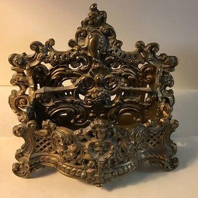 Antique heavy brass cast alloy ornate desktop letter holder victorian style