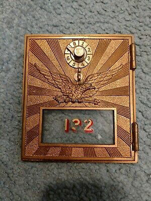 Rare Bronze Brass Embossed Eagle Post Office Box Door Safe Bank Vault Mosler Old