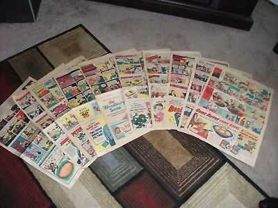 Vintage 10 pc Sunday Newspaper Strips Lot- (1950's) Full Sheet with Original Ads
