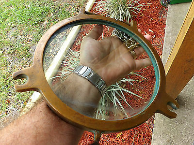 Ship's Window / Vintage Heavy Brass & Glass Nautical  Maritime Porthole  BRONZE