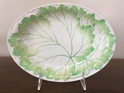 Antique Wedgwood Majolica White & Green Leaf Oval Serving Dish c. 1870 (B)
