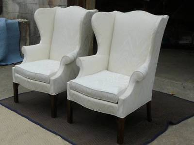 Pair of Chippendale White Wing Chairs