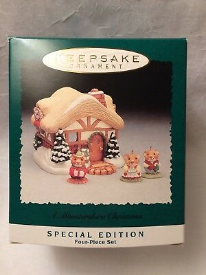 "Hallmark ""A Moustershire Christmas"" 1995 Display and Miniature Ornaments"