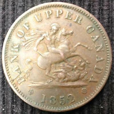 1852 Bank of Upper Canada One Penny Bank Token Dragon Slayer