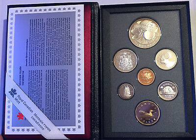 1996 Canadian Royal Mint Proof 7 Coin Set Silver Double Dollar Original Box