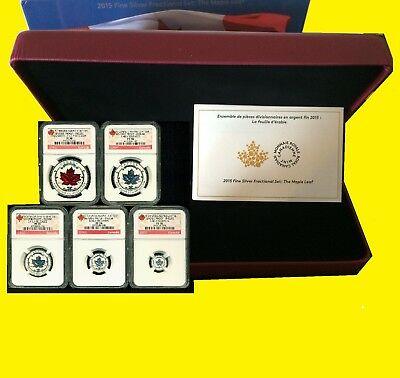 2015 Silver Canadian Maple NGC RV PF 70 UC EARLY RELEAS 5 COIN SET MINT BOX  COA