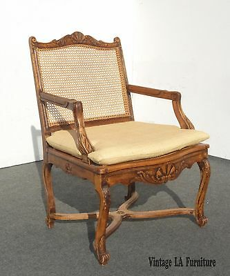 Beautiful Vintage FRENCH COUNTRY PROVINCIAL Cane  SIDE ARM CHAIR w Straw Cushion