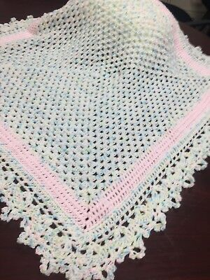 Pastel Crocheted Baby Blanket With Pink Accent Rows Picot Edging Plus Free Hat!