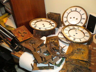 Large Lot- Antique-Weight Vienna Regulator Clock Movements/Parts-Junk-Junk-#M950