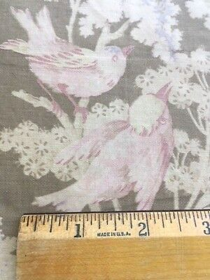 Antique 1900 French Fabric Floral Pink Birds Roses Lilacs Faded Vintage Remnant
