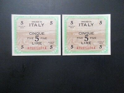 1943A US WWII Italy Campaign Pair (2)ea Allied Military Occupation Notes in Seq