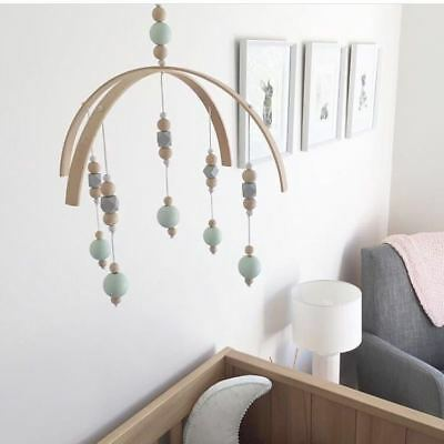 Baby Crib Mobile Bed Bells Arm Bracket Wind-up Wooden Beads DIY Home Toy Gift TC