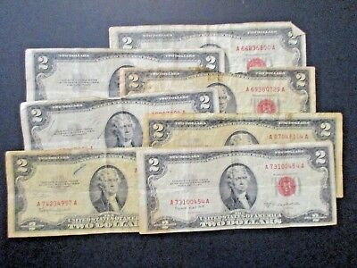 US Lot of 7 Various $2 Dollar Red Seal Notes, Circulated, Damaged, Stained & OK