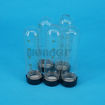 Lot(5) 50ml 30x105mm Clear Glass Test Tube Round Bottom Graduated with Screw Cap