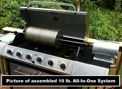 USA Made 10 Lb Capacity Outdoor Coffee Roaster System Drum-rod-grill-60rpm Motor