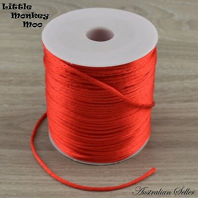 Red Satin Nylon Cord 2mm Teething DIY Necklace Beads Jewellery 1 to 40 Meters