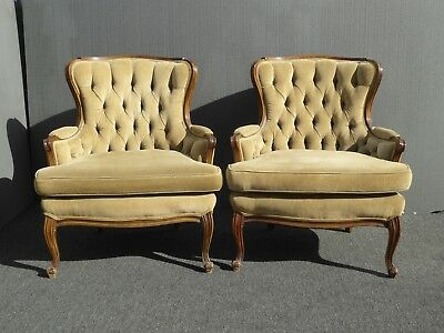 Pair Vintage French Provincial Style Tufted Accent Chairs ~ Tan Corduroy