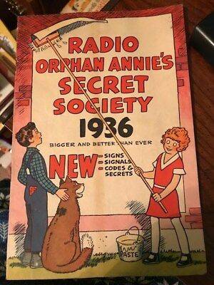 Radio Orphan Annie's Secret Society 1936 Signs Signals Codes and Secrets Booklet