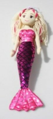 Brand New Cotton Candy 45cm Molly Dark Pink Mermaid Child's Soft Toy Doll