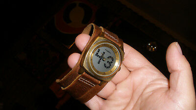 fossil big tic mens watch has animated seconds wide spartacus band brass case !!