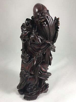 RARE Fine Antique HAND CARVED BUDDHA Shou Xing & Boy With Peaches / Rose Wood
