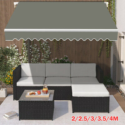2/2.5/3/3.5/4M Patio Manual Awning Garden Canopy Sun Shade Retractable Shelter