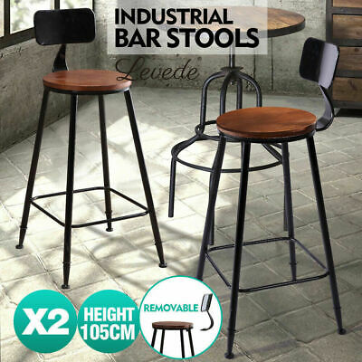 2 Pcs Vintage Industrial Rustic Bar Stool Home Kitchen Round Wood Seat High Back