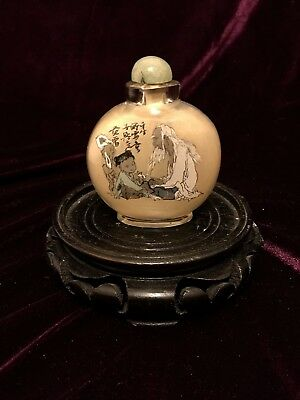 Vintage Chinese Glass Snuff Bottle Reverse hand Painted