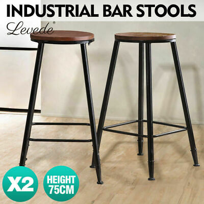 2 Pcs Vintage Industrial Rustic Bar Stool Home Kitchen Round Wood Seat 75cm High