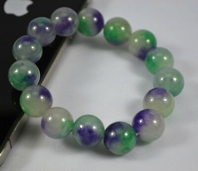 AU Combine Purple Green 12mm Diameter Color Stone Bead Stretch Bracelet Gift #4