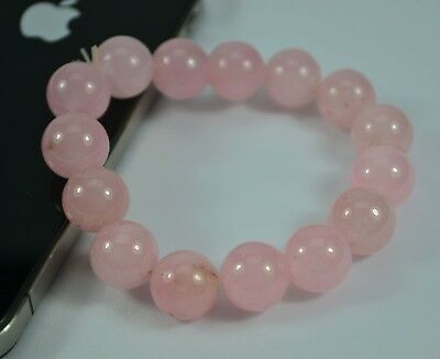 AU Pink 12mm Diameter Yunan Color Stone Bead Stretch Bracelet Woman Gift #5