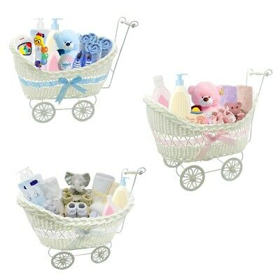 Girls Boys Pram Basket Gift Large Wicker Hamper New Born Baby Shower Party