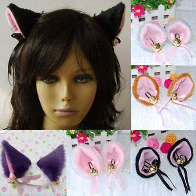 Sweet Party Halloween Cosplay Cat Ears Anime Costume Hair Clip Bell