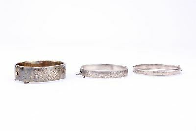 Lot of 3 x Vintage HALLMARKED STERLING SILVER Bangles inc Floral etc 76g