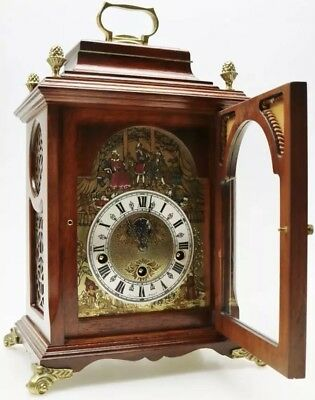 Christian Huygens Walnut Westminster Musical Penny Moon Bracket Clock.