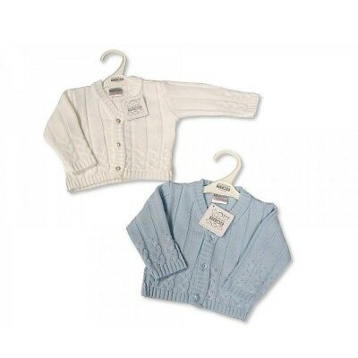 KNITTED BABY BOYS CARDIGAN BLUE or WHITE Newborn 0-3 3-6  mth