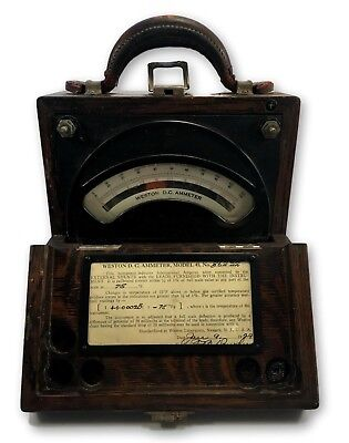 VINTAGE 1929 Weston Electrical Instrument Corp Model 45 DC Ammeter Wooden Box