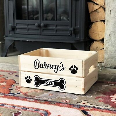 Personalised Cat Dog Pet Toy Box Wooden Crate Storage For Treats