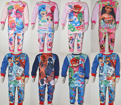 Boy Girl Moana Trolls Paw Patrol PJ masks Winter Pyjamas pjs Size 2-7