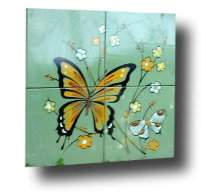 Painting in Ceramic Period Manufacture 3 F Cannara with Butterflies 1970 -