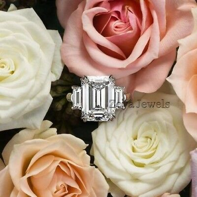 Certified 3.00Ct White Emerald Diamond Engagement Ring in Solid 14K White Gold