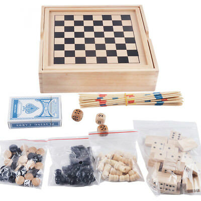 3 in 1 Wooden Wood Chess Set Board Game Xmas Gift Checkers Backgammon