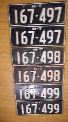 Vintage 3 Consecutive Sets of 1970s NT Number Plates 167 - 497 to 167 - 499