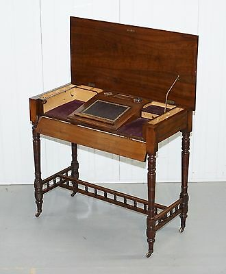 Rare Stunning Victorian Walnut Campaign Used Military Desk Hidden Writing Slope