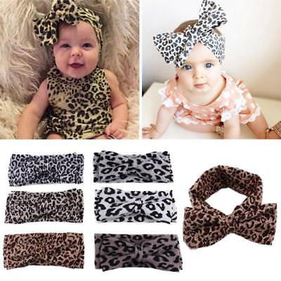 Girls Baby Printing Floral Headwear Bow Leopard Hair Band Headband Knot Turban