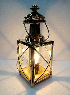 Vintage Brass Electric Lamp Nautical Maritime Ship Lantern Boat Light 12""