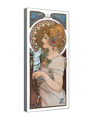 La Plume by Alfons Mucha - Quality canvas wall art various sizes, ready to hang