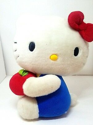 Hello Kitty Cat Blue Overalls Red Apple Hair Bow  Stuffed  10""